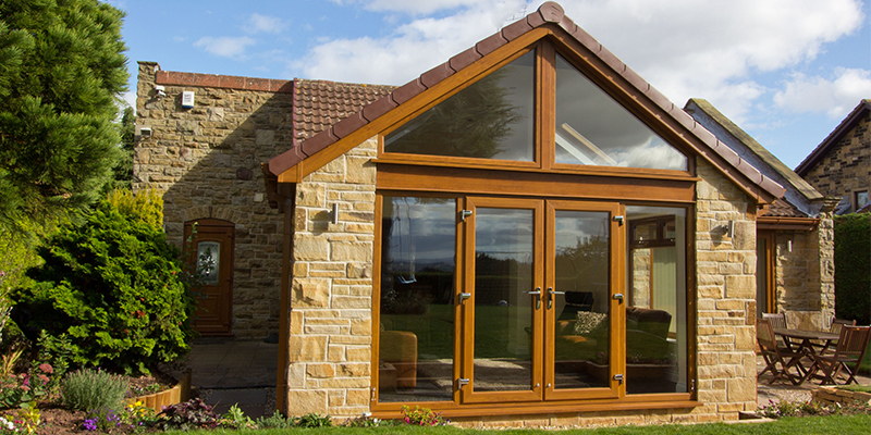 Golden Oak french doors and extension