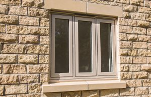 Cream flush sash window