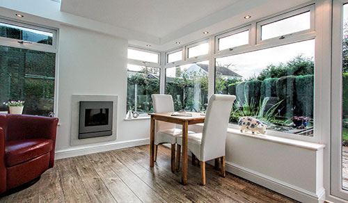 White uPVC extension interior