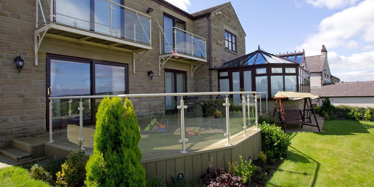 garden decking and conservatory