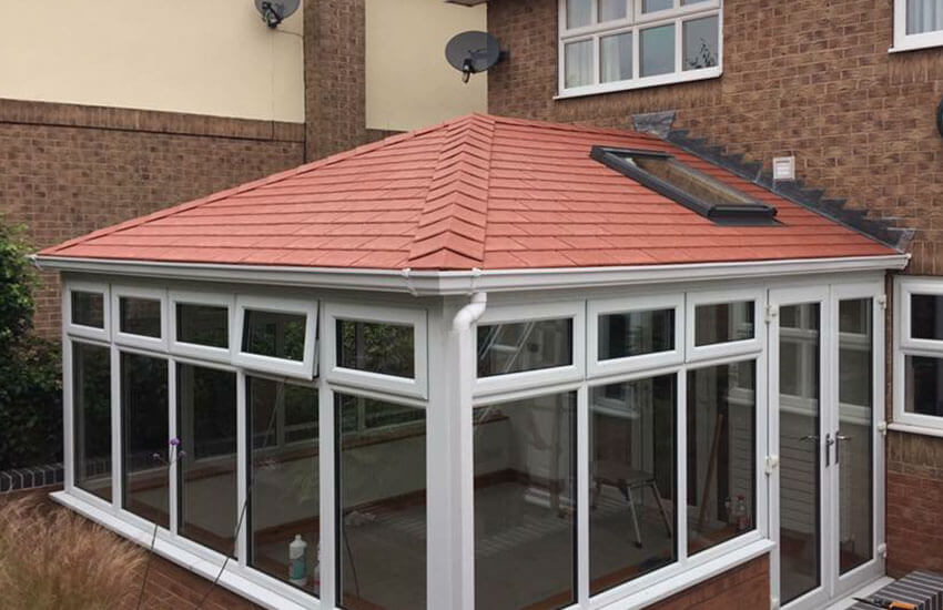 Contemporary conservatory with tiled roof