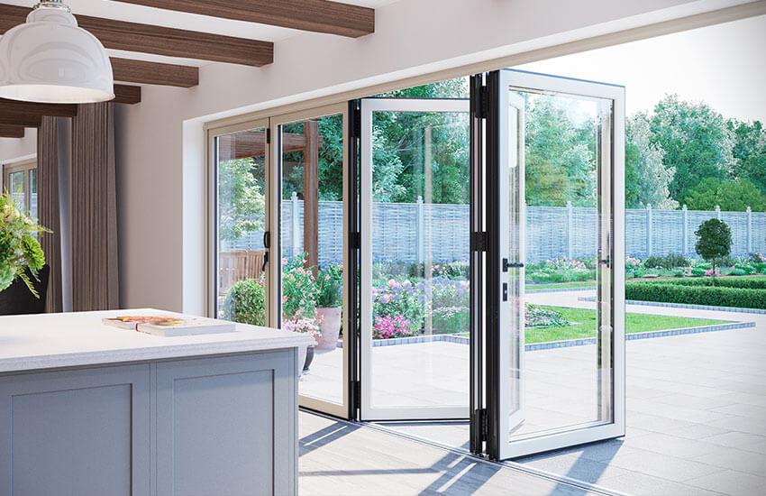 White aluminium bifold door interior