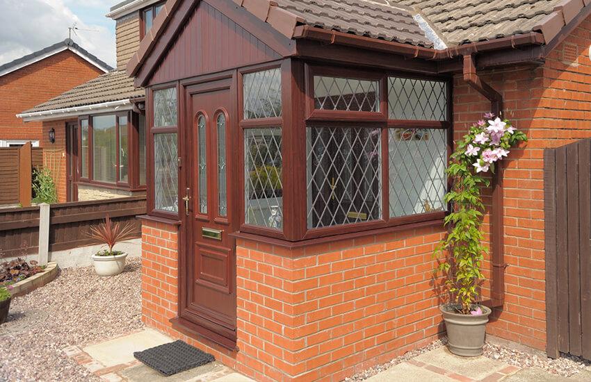 uPVC rosewood door and porch