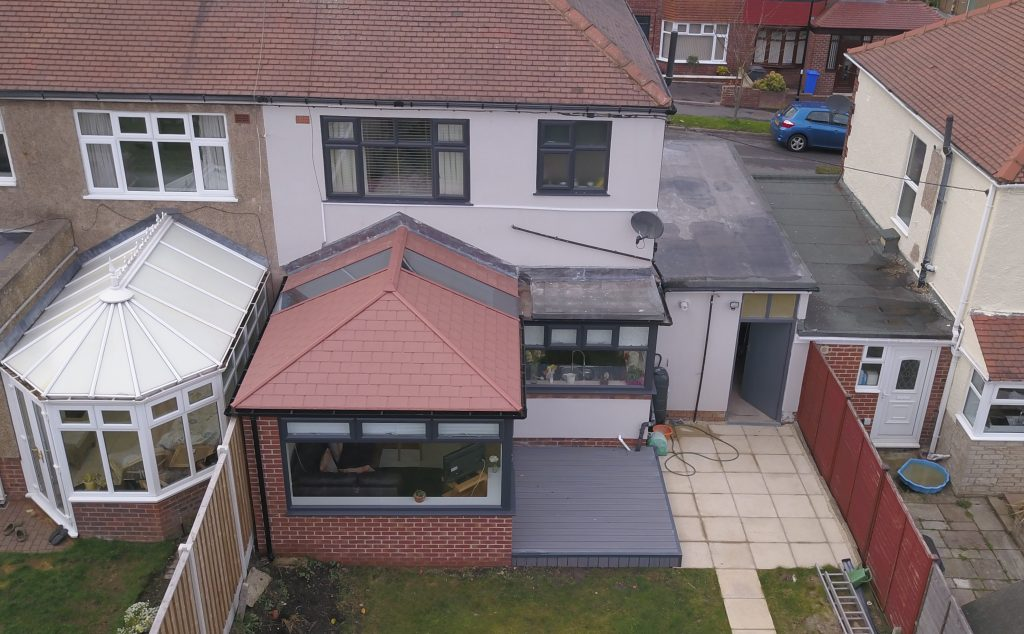 Orangery installation with ultraroof aerial shot