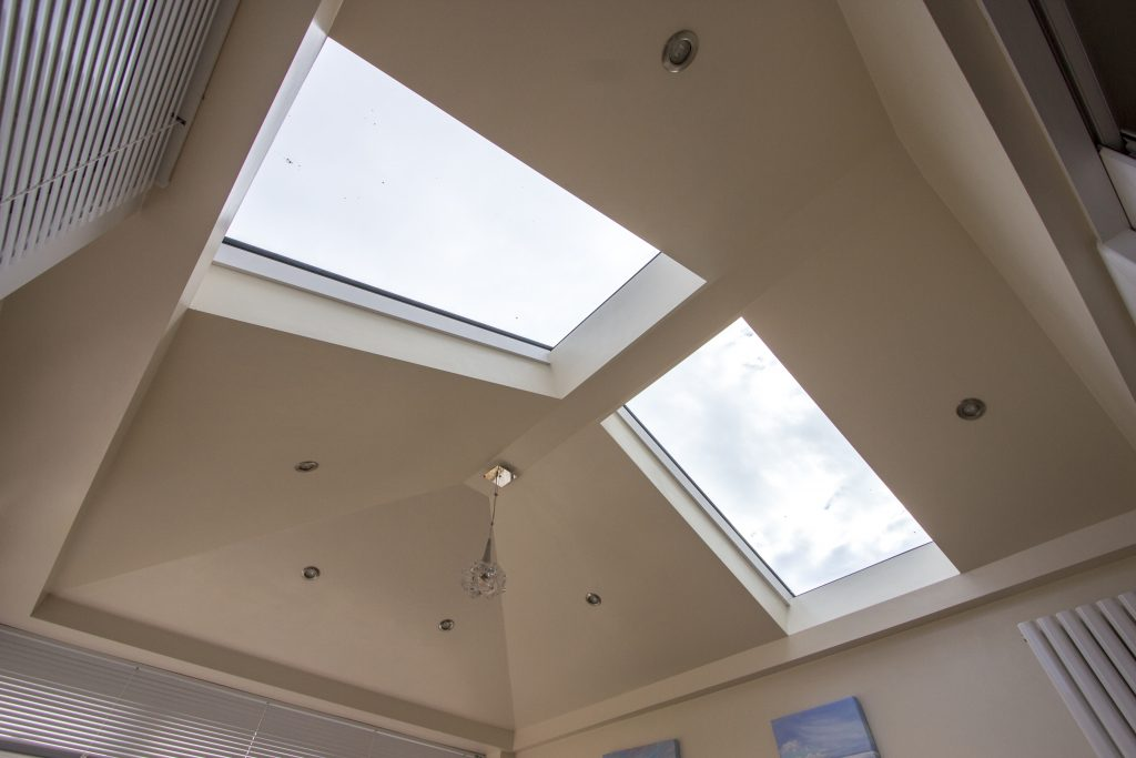 Orangery interior, looking up at roof with skylights