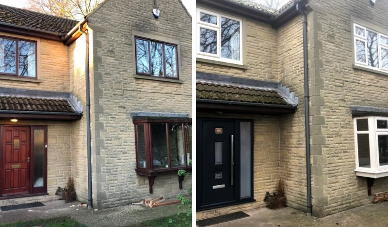 A house before and after a new window and door installation