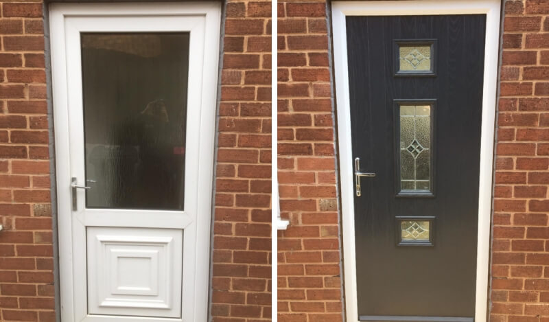 Before and after a composite door installation