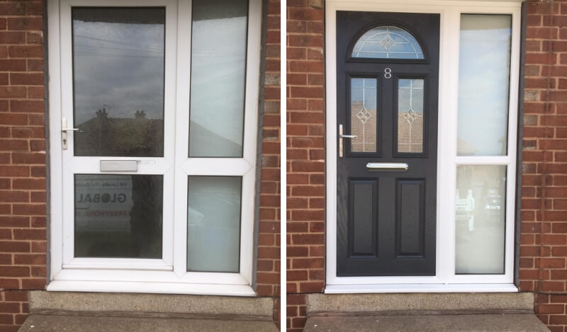 Before and after a door installation