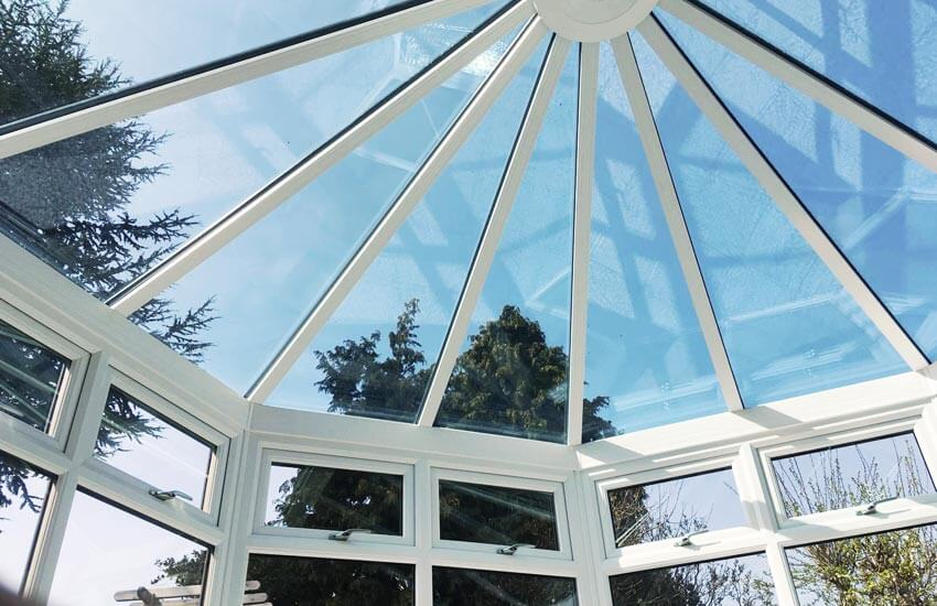 White uPVC glass conservatory roof
