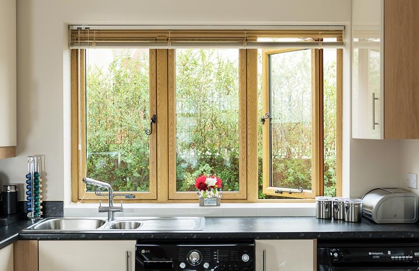 Irish Oak uPVC Flush Sash Windows in kitchen