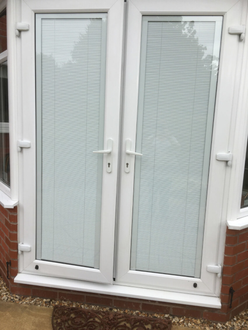 White French doors with integral blinds