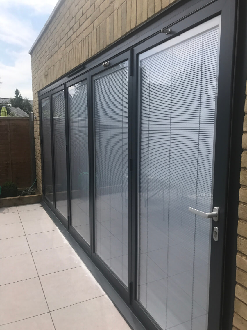 Black bifolds with integral blinds