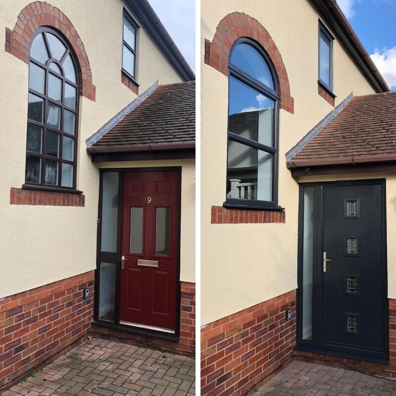 Before and after the installation of a new door