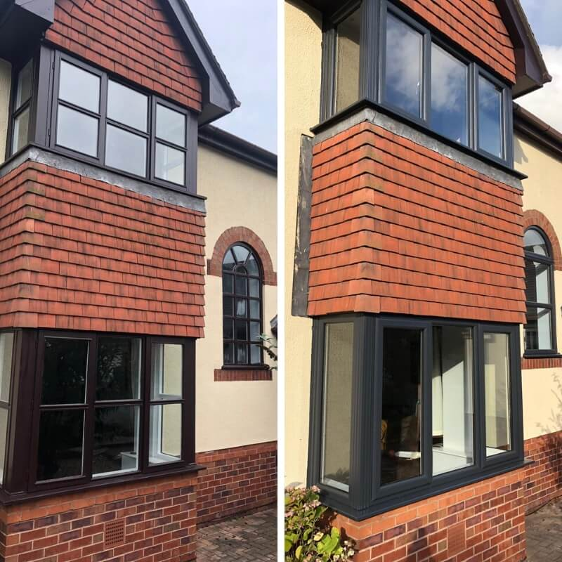 Before and after the installation of anthracite grey windows