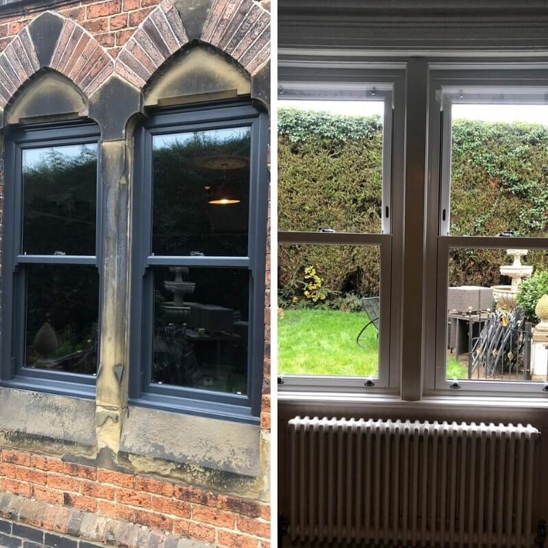 Exterior and interior view of new windows